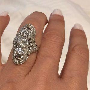 🔴 ANTIQUE PLATINUM DIAMOND RING EDWARDIAN